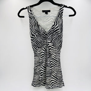 Express Sleeveless Tank Top Mesh Zebra Print Small